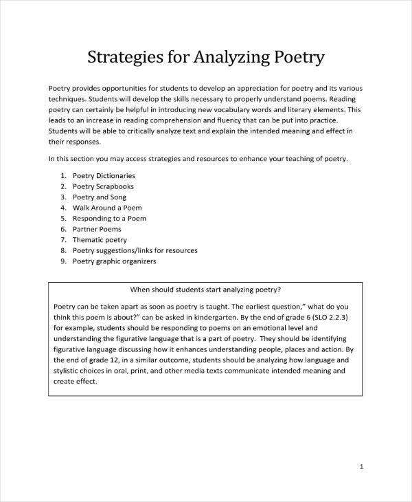 Strategies for Analyzing Poetry