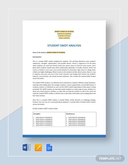 student swot analysis template
