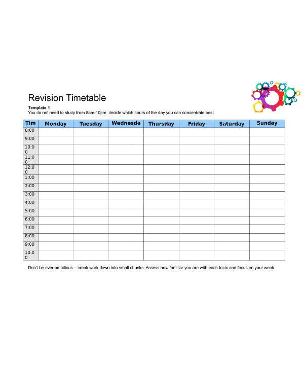 study planner revision timetable template