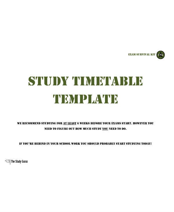 study planner study timetable template