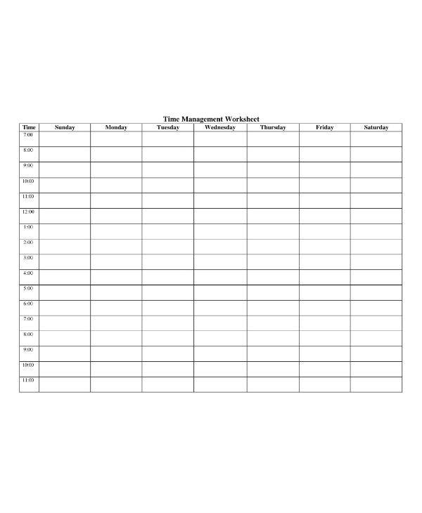 study planner time management worksheet template