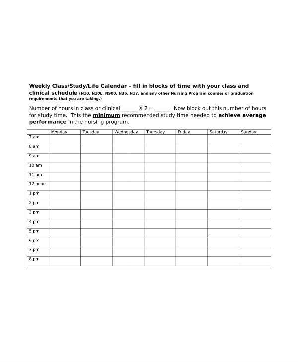 study planner weekly schedule template