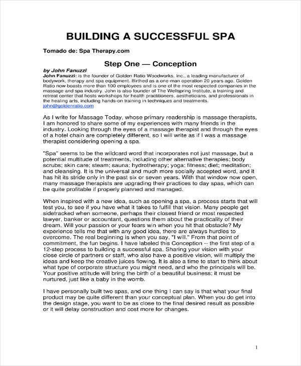 5 massage therapy business plan templates pdf free premium successful spa business plan flashek Choice Image