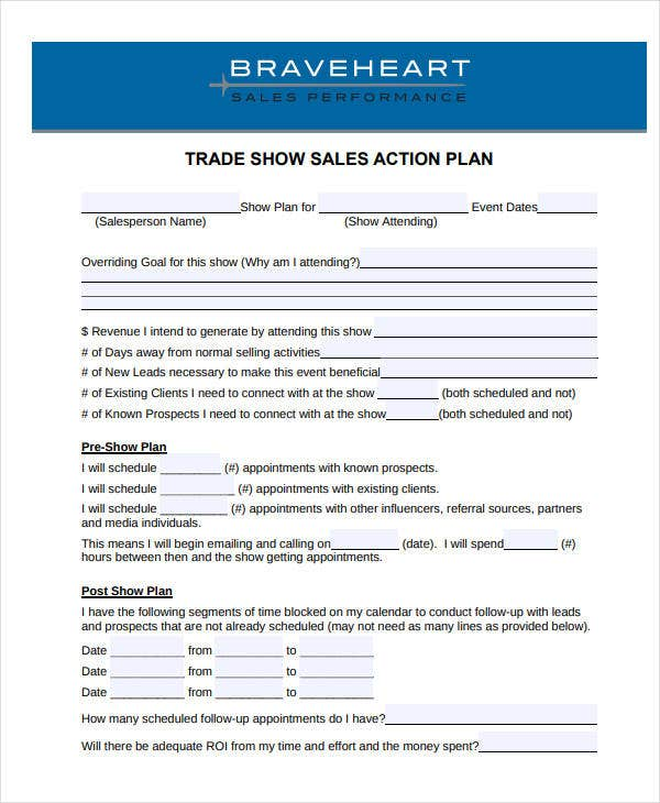 trade show sales action plan