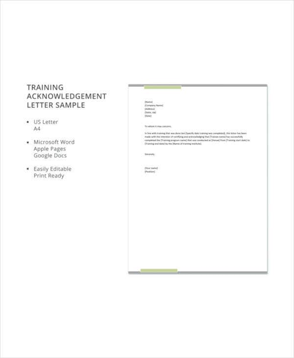 Training acknowledgement letter templates 8 free word pdf format 8 training acknowledgement letter templates spiritdancerdesigns Images
