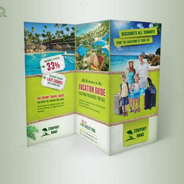 trifold advernture resort brochure template