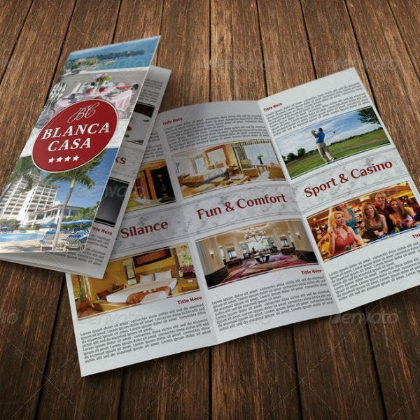 trifold hotel brochure template