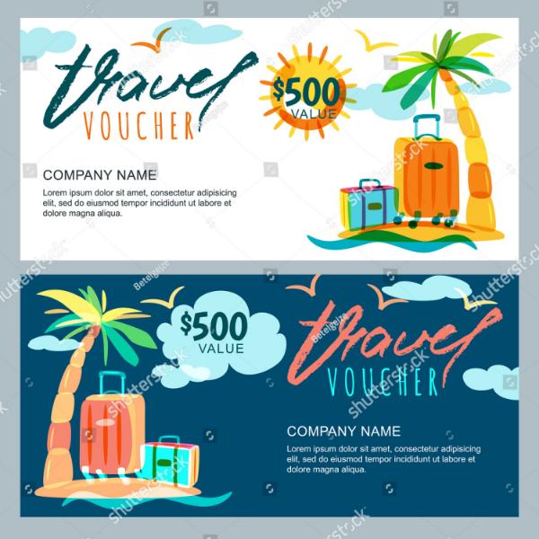 Tropical Travel Discount Voucher Template
