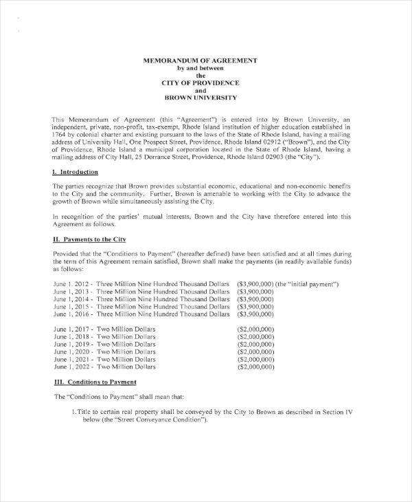 University Memorandum of Agreement Sample