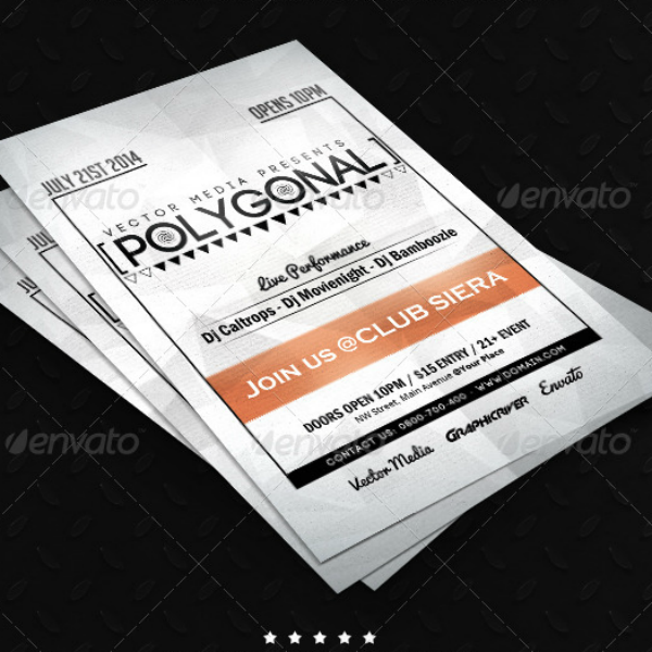 Vector Media Polygonal Flyer Template