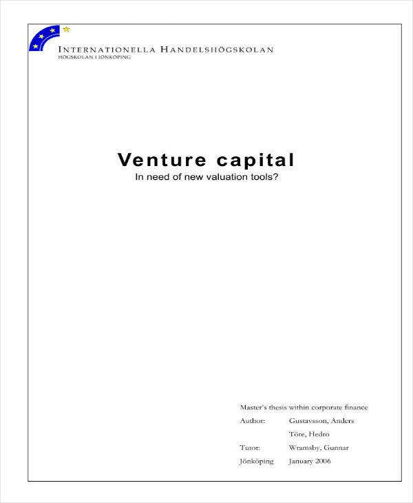 Venture Capital Proposal Sample