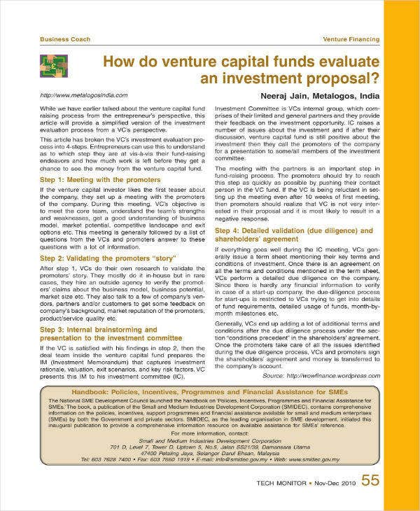 Venture Financing Proposal Template