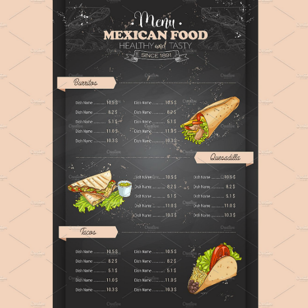 Vertical Colored Mexican Menu Template