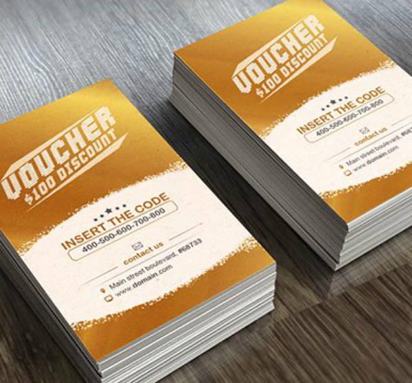 Vertical Discount Voucher Card Design