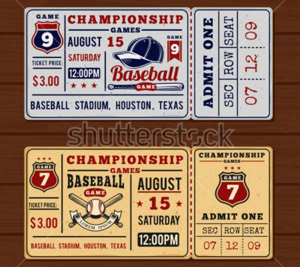 Vintage Baseball Event Ticket Template