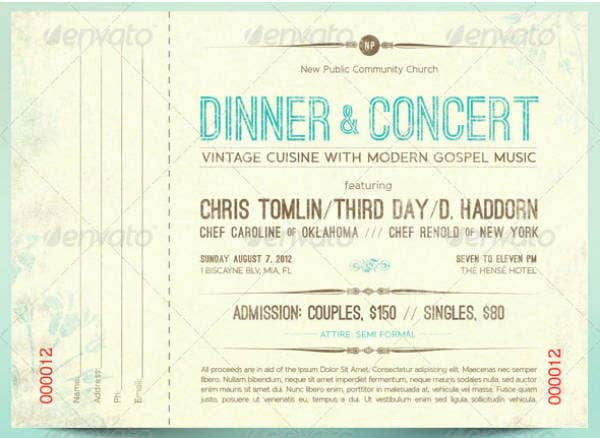 Vintage Dinner Concert Ticket Example