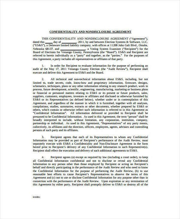 Voting Audit Confidentiality Agreement Template