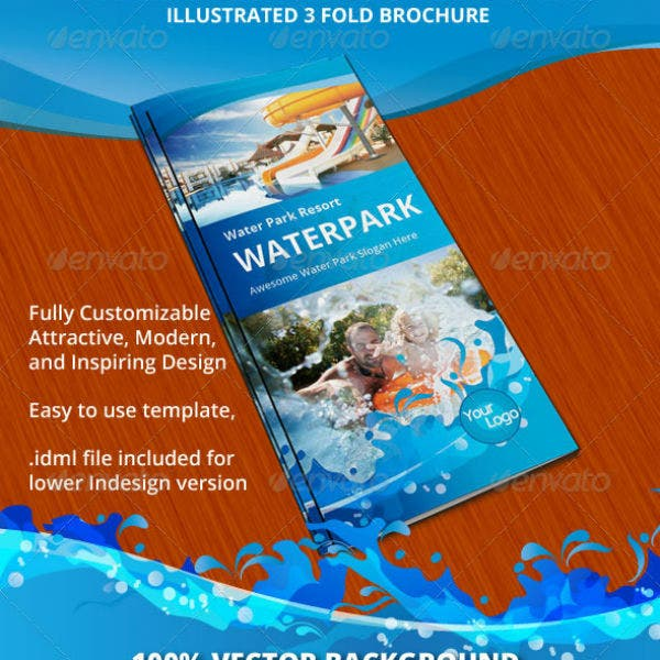 water park resort trifold brochure template