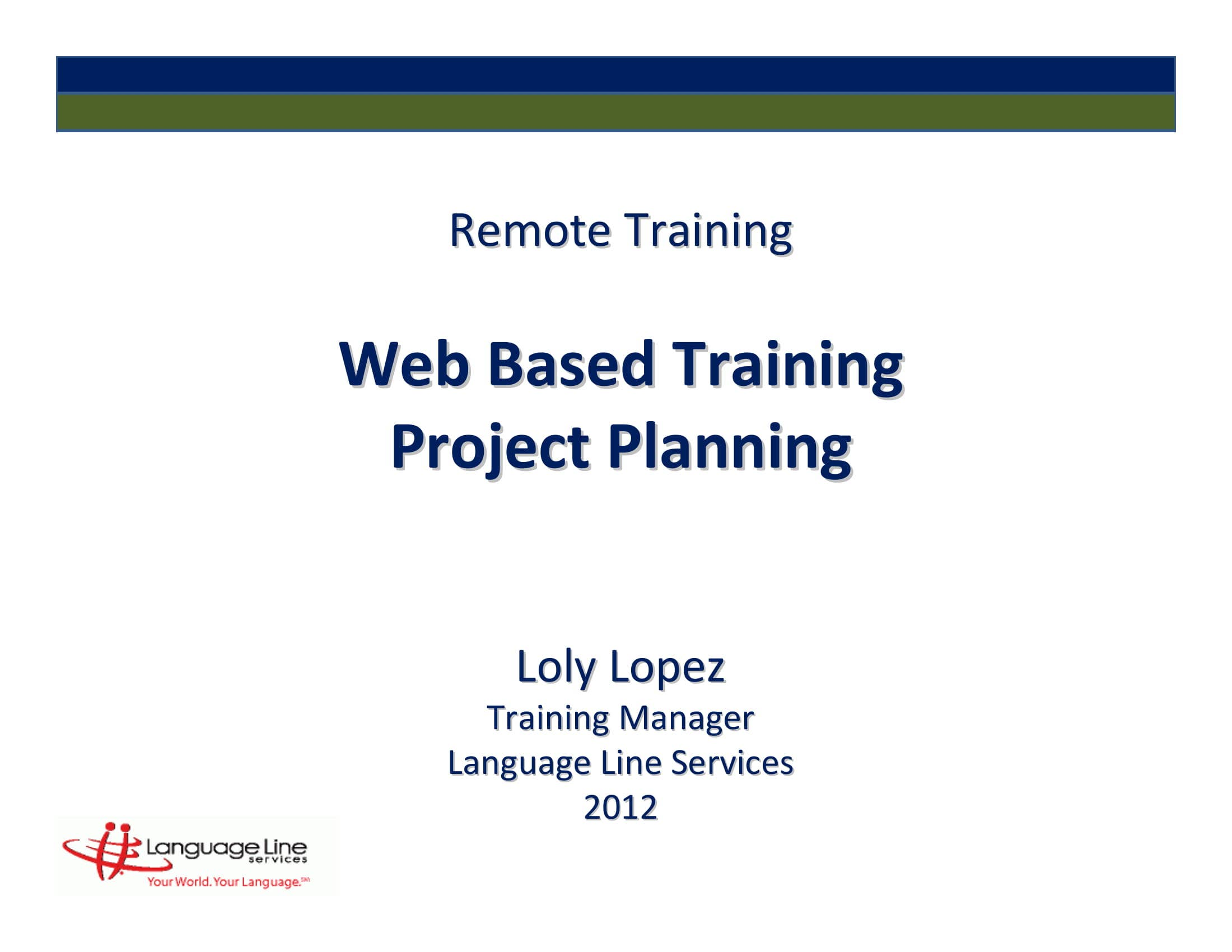 web based training project plan