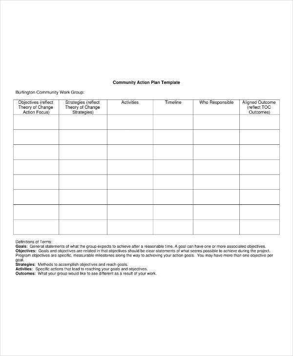 Work Group Community Action Plan Template