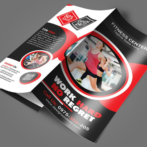 Work Hard Fitness Center Brochure Template