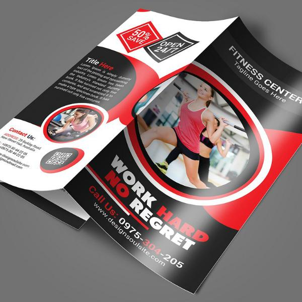 work hard fitness center brochure template