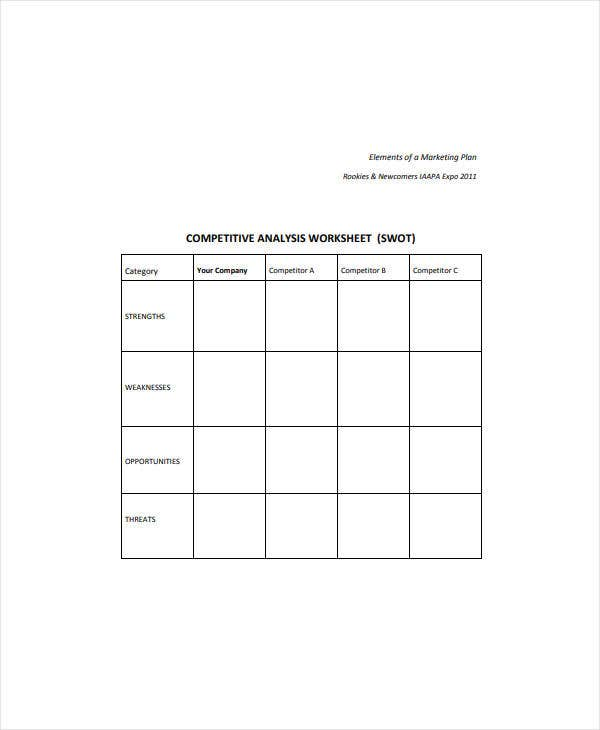 worksheet competitive swot analysis
