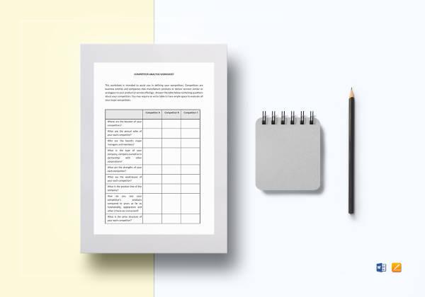 worksheet competitor analysis template