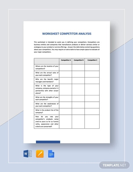 worksheet competitor analysis template1