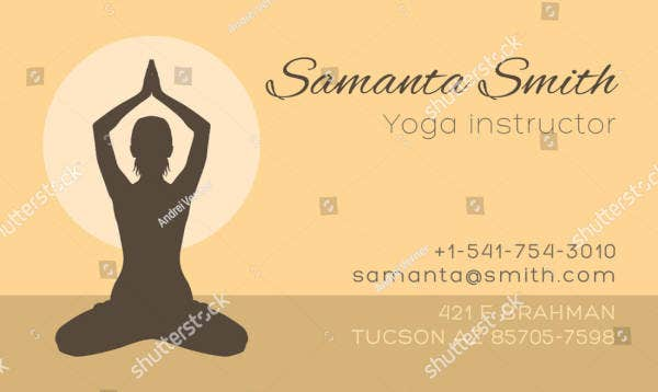 yoga instructor silhouette business card