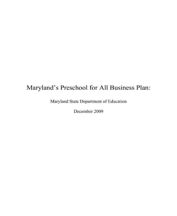 marylands preschool business plan 01