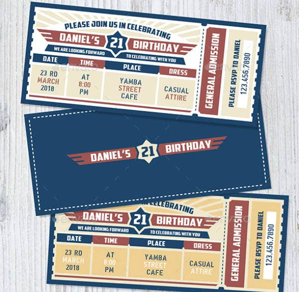 Air Force Birthday Ticket Invitation
