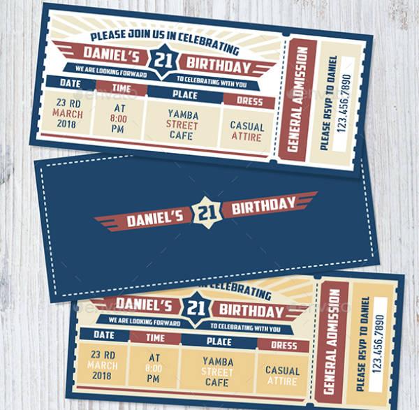 Air Force Birthday Ticket Invitation