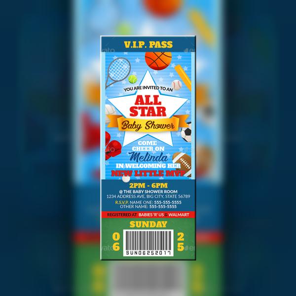 All-Star Sports Ticket Invitation Template