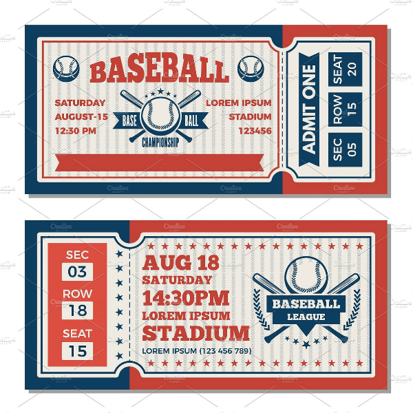 Baseball Tournament Event Ticket Template