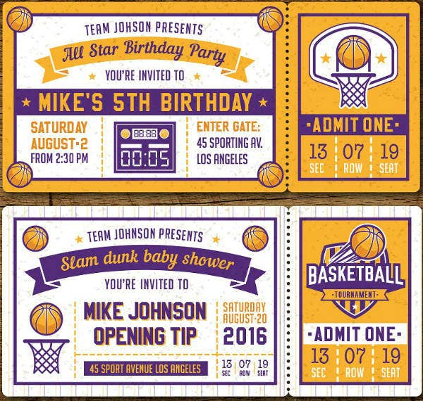10 Sports Ticket Invitation Designs Templates PSD AI Word Apple Pages Publisher Free