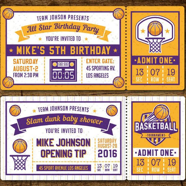 13 Basketball Ticket Invitation Card Designs Templates