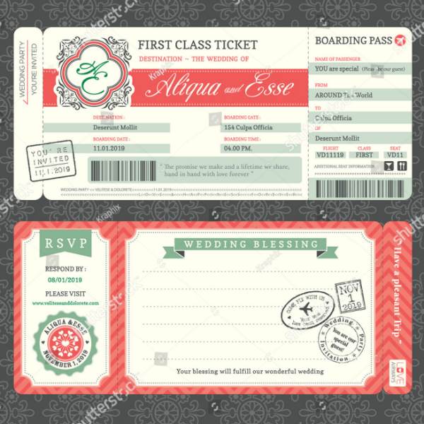 beautiful wedding invitation ticket template