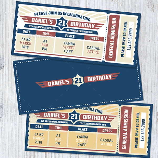 Birthday Party Baseball Ticket Template