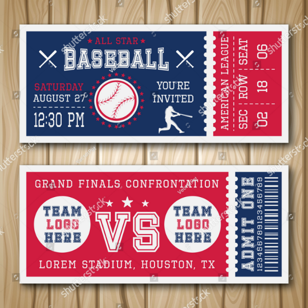Blue Red Baseball Ticket Template