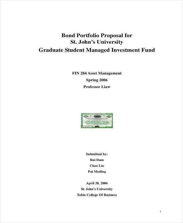 bond portfolio proposal sample