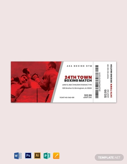 boxing ticket template