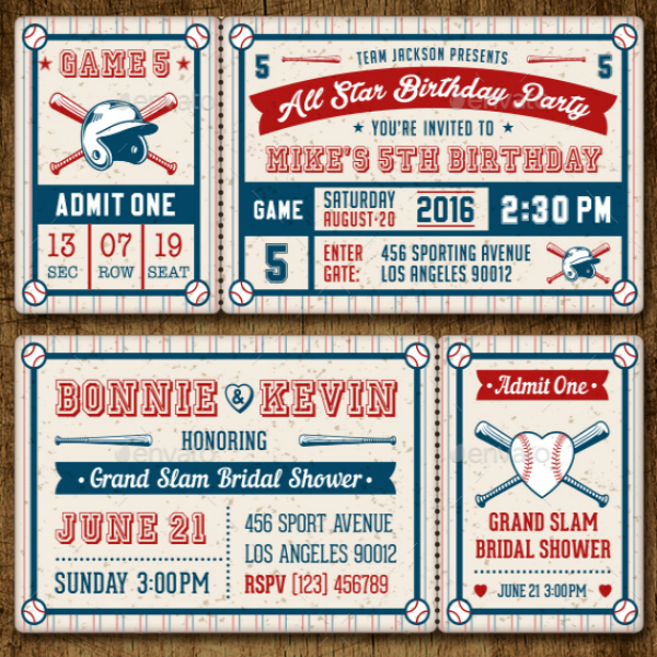 Bridal Shower Baseball Ticket Template