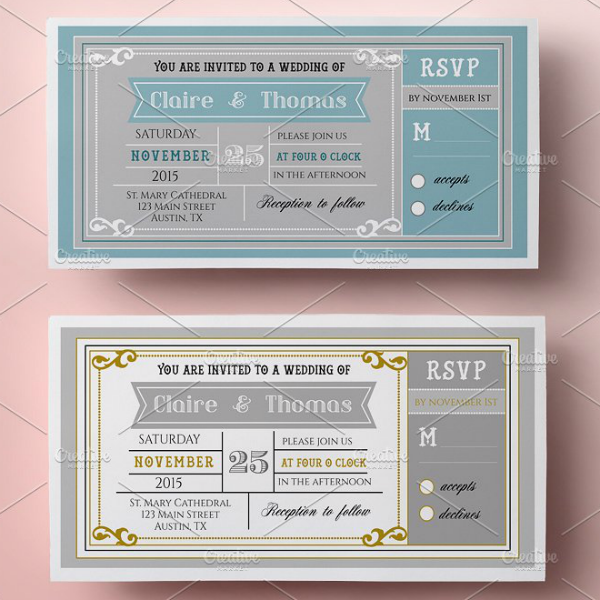 broadway wedding invitation ticket template