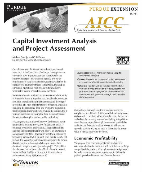 Business Capital Investment Analysis