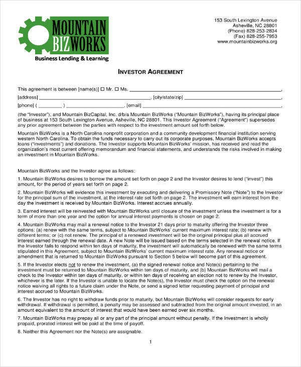 6+ Small Business Investment Agreement Templates - PDF, Word