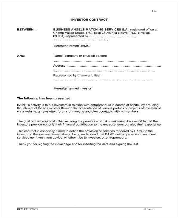 Business Investor Contract Agreement Sample