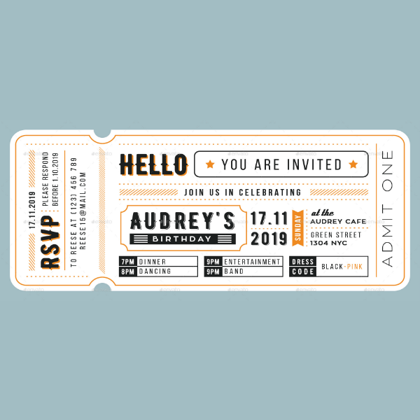 Card Style Birthday Ticket Invitation