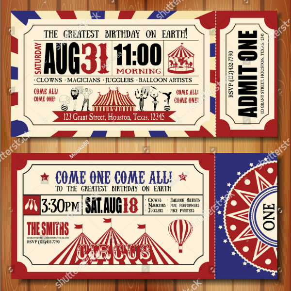 Carnival Circus Event Ticket Invitation