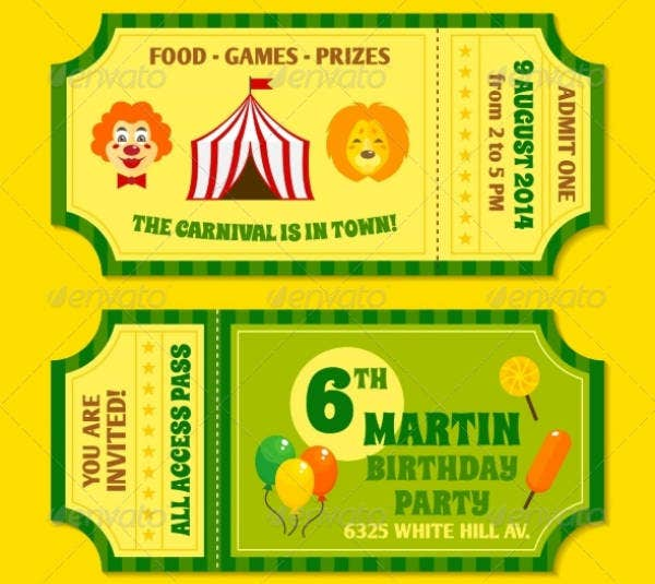Carnival Ticket Birthday Invitation Sample